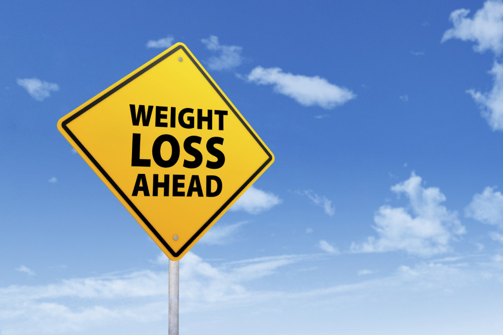 Signpost of weight loss under blue sky